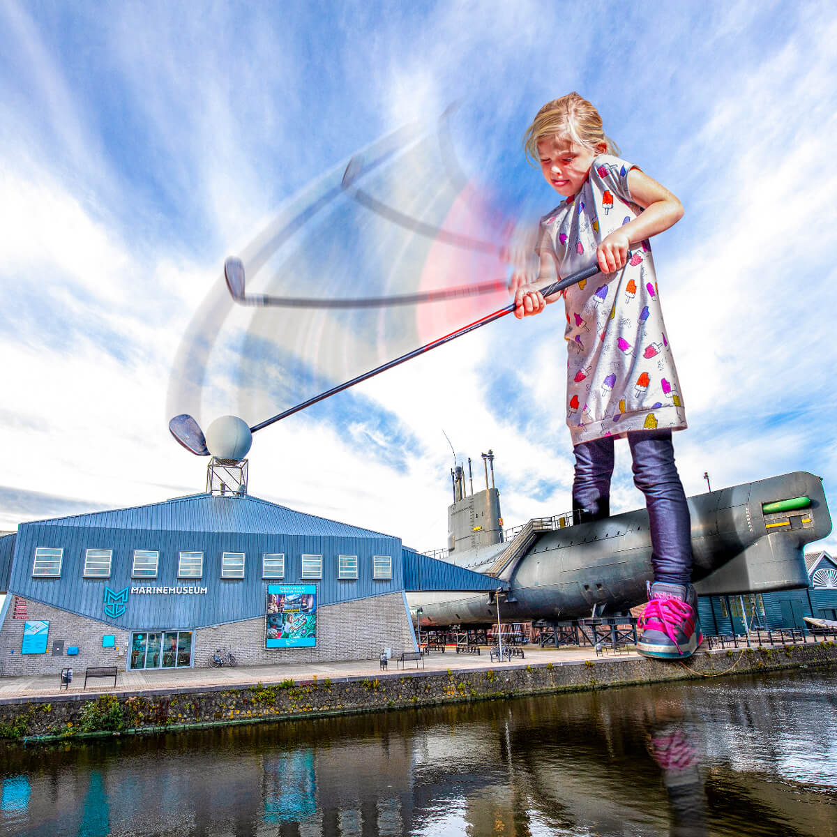 Big Girl Golf - Photoshop - Photomanipulation - Marine Museum Den Helder